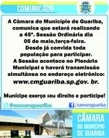 Comunicado da realização da 45ª. Sessão Ordinária da Câmara Municipal de Guariba