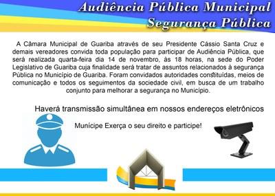 Audiência Pública Municipal sobre Segurança Pública no Município