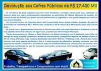 Devolução aos Cofres Públicos de R$ 27.400 Mil