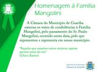 Câmara Municipal de Guariba presta homenagem à Família Mangolini