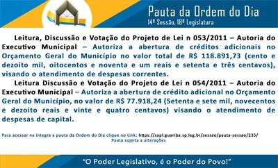 Pauta 14 Sessão Ordinária