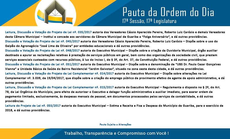Pauta 17ª Sessão Ordinária