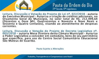 Pauta 27ª Sessão Ordinária