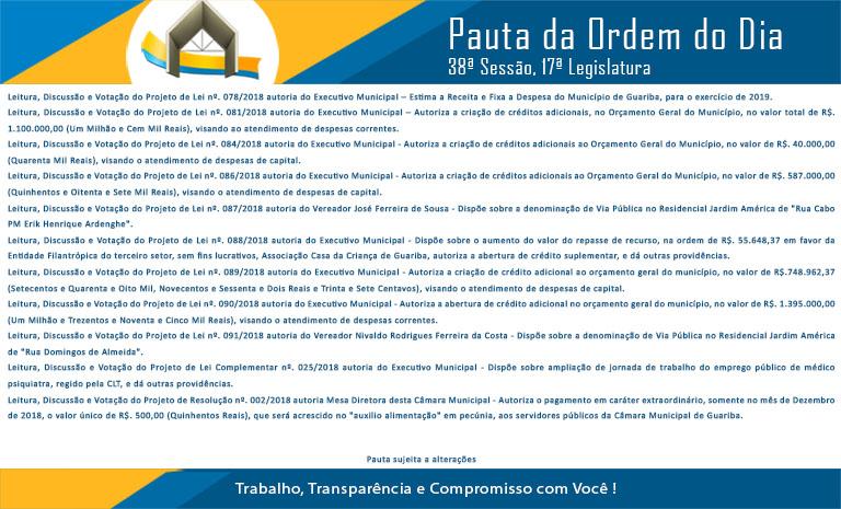 Pauta 38ª. Sessão Ordinária