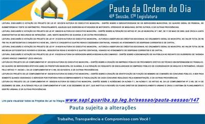 Pauta 41ª. Sessão Ordinária