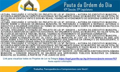 Pauta 47ª. Sessão Ordinária
