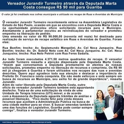 Vereador Jurandir Turmeiro através da Deputada Marta Costa consegue R$ 90 mil para Guariba