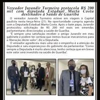Vereador Jurandir Turmeiro protocola R$ 200 mil com deputada Estadual Marta Costa destinados à Saúde de Guariba