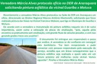 Vereadora Márcia Alves protocola ofício no DER de Araraquara solicitando pintura asfáltica da vicinal Guariba x Motuca
